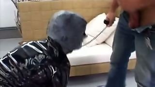 Restrained Chick In Mask Gives Submissive Blowjob Standing On Her Knees