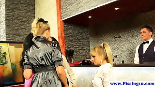 Piss Drinking Babes Fingering In Hot Group