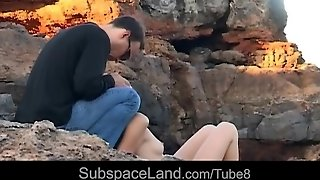 Leashed Slaves Tortured Outdoor On The Rocks For Disobedience