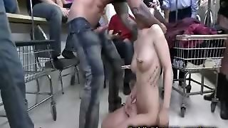 French Girl Gangbang Fucked In Laundry