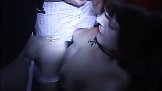 Slutwife Gangbanged In Dark Adult Theater