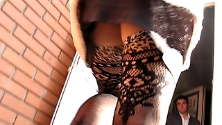 Girl In Fashion Fishnet Stockings Going To Shoping