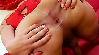 Stockings Tranny Solo Cumshot