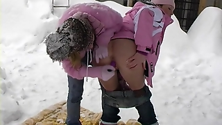 Young Lesbian Girls Licking Pussy In The Snow