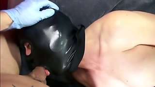 Nasty Latex Bitch Gives Blowjob Wearting Face Mask