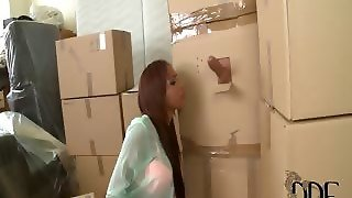 Cuban Babe Sucks Cock In A Box