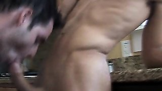 Two Broke College Boys Fuck In The Kitchen For Cash.