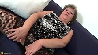Voluptuous Old Lady In Black Lace Lingerie