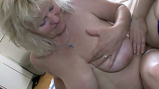 Busty Lesbian Couple Of Horny Grannies Licking Pussies