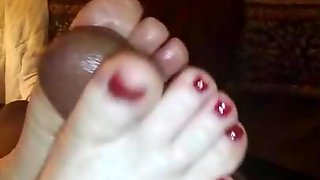 Sexy Red Toejob!! With Cumshot!!