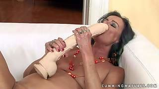 Turned On Old Black Haired Whore With Natural Tits And