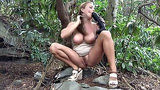 Girl In The Woods With Bbc Dildo