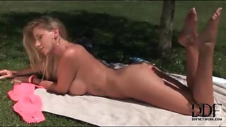 Anal Toy Girl With Big Tits Masturbates Outdoors