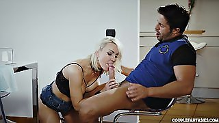 Blonde Slut Gets Tied Up And Choked With A Cock